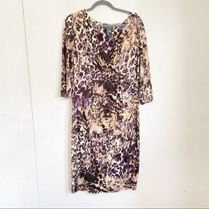 Lauren Ralph Lauren Animal Print Faux Wrap Dress